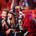 Karoke show at halloween party